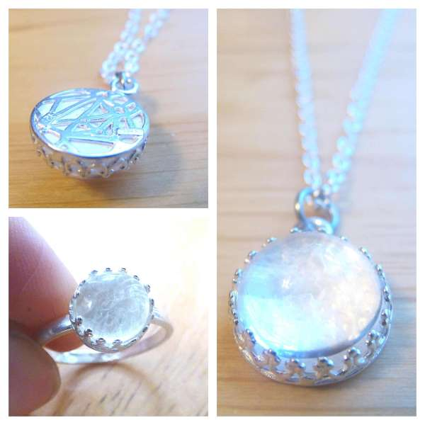 silver crown breast milk necklace and ring set 2 dna keepsake