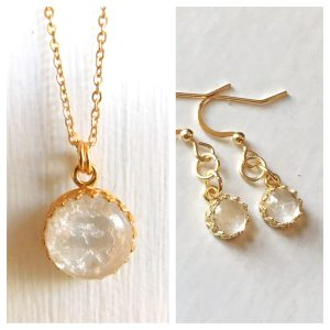 Queen of the Crown Set_ Yellow Gold Crown Round Breastmilk Necklace & Dangling Earrings.jpg