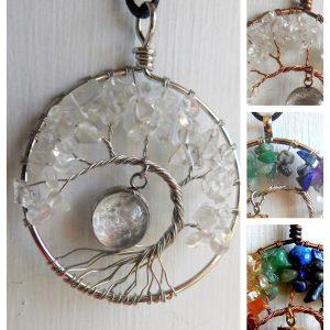 Tree of Life Breast Milk Necklace Moon Quartz Crystals Chakra Jewelry