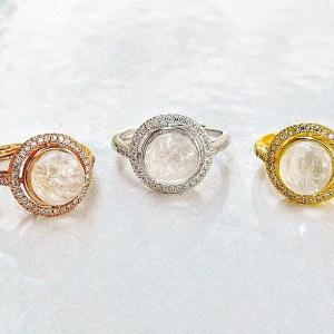 14k SOLID Gold /Vermeil- Halo Moissanite Diamonds Breast Milk Ring – Breast Milk Jewelry -Silver/ Rose Gold /Gold