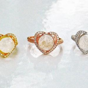 14k SOLID Gold /Vermeil- Halo Heart Moissanite Diamonds Breast Milk Ring – Breast Milk Jewelry -Silver/ Rose Gold /Gold