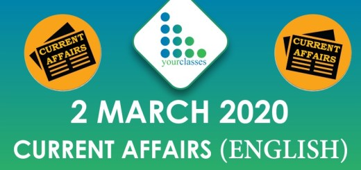 2 March Current Affair 2020 in English