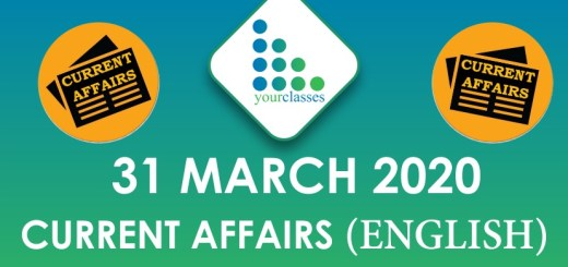 31 March Current Affairs 2020 in English
