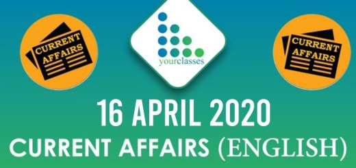 16 April Current Affairs 2020 in English