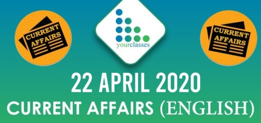 22 April Current Affairs 2020 in English
