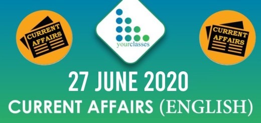 27 June Current Affairs 2020 in English