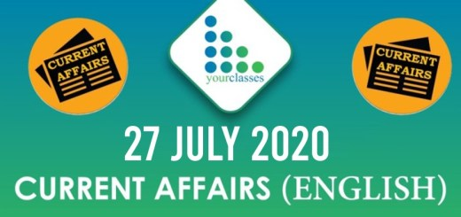 27th July Current Affairs 2020 in English