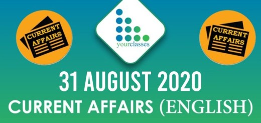 Current Affairs 31st August 2020 in Hindi