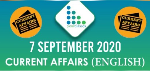 Daily Current Affairs 7th September 2020 in English
