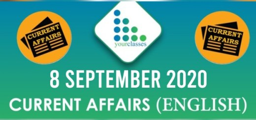 Daily Current Affairs 8th September 2020 in English