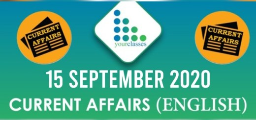 Daily Current Affairs 15th September 2020 in English