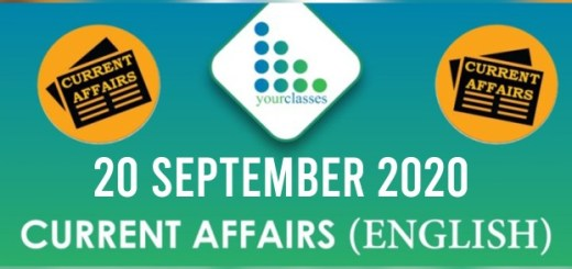Daily Current Affairs 20th September 2020 in English