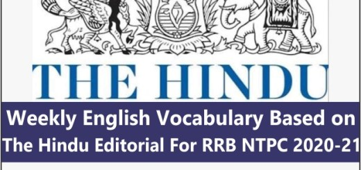 Weekly English Vocabulary Based on The Hindu Editorial For RRB NTPC 2020-21