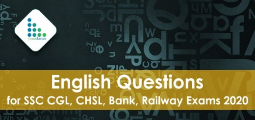 English Questions for SSC CGL, CHSL, Bank, Railway Exams 2020