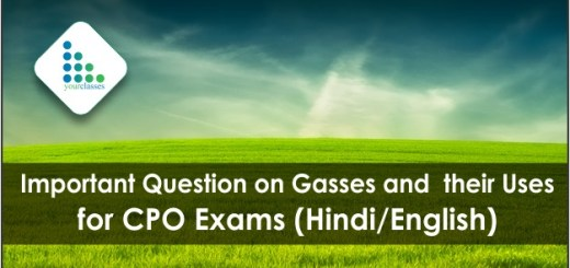 Important Question on Gasses and their Uses for CPO Exams (Hindi/English)