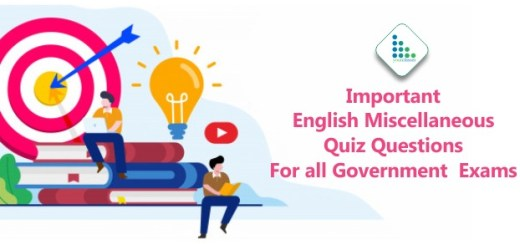 Important English Miscellaneous Quiz Questions For all Government Exams