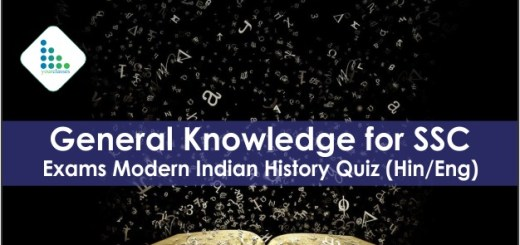 General Knowledge for SSC Exams Modern Indian History Quiz (Hindi/English)