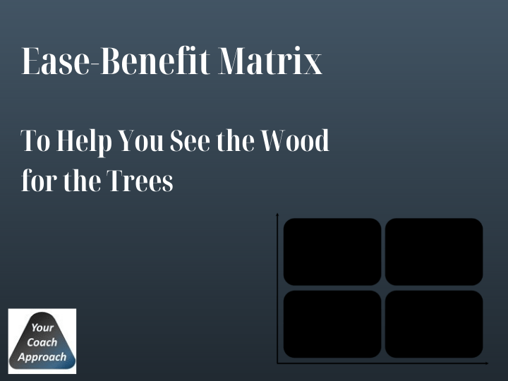 Image of an Ease-Benefit Matrix. A great trick to help you see the wood for the trees in your interior design business