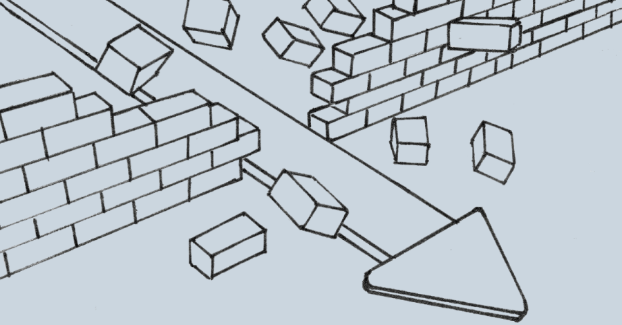 Image of smashing through a barrier in the form of a brick wall that was stopping an interior design business grow