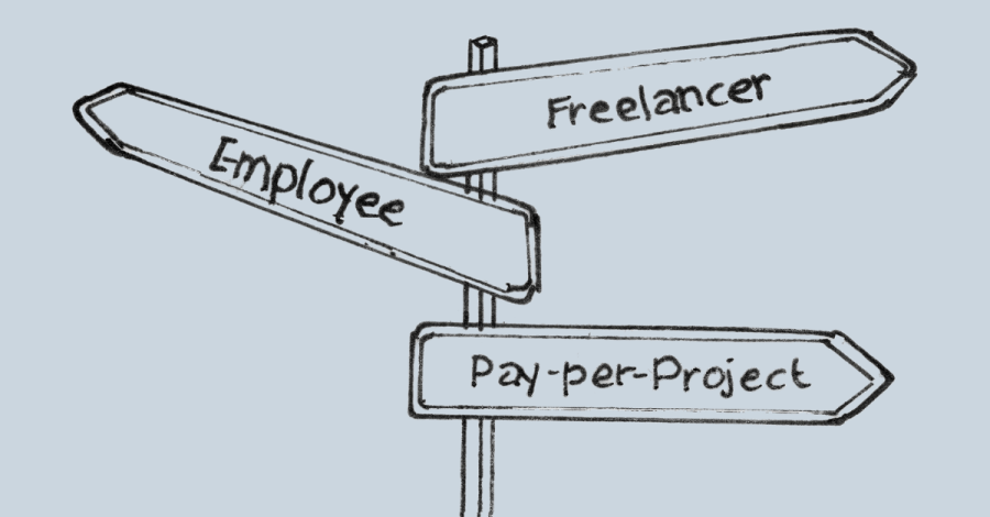 Signpost showing freelancers, employees and outsourcing as ways to grow an interior design business