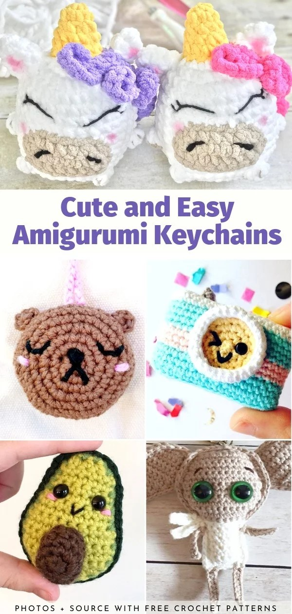 Cute and Easy Amigurumi Keychains Free Crochet Pattern