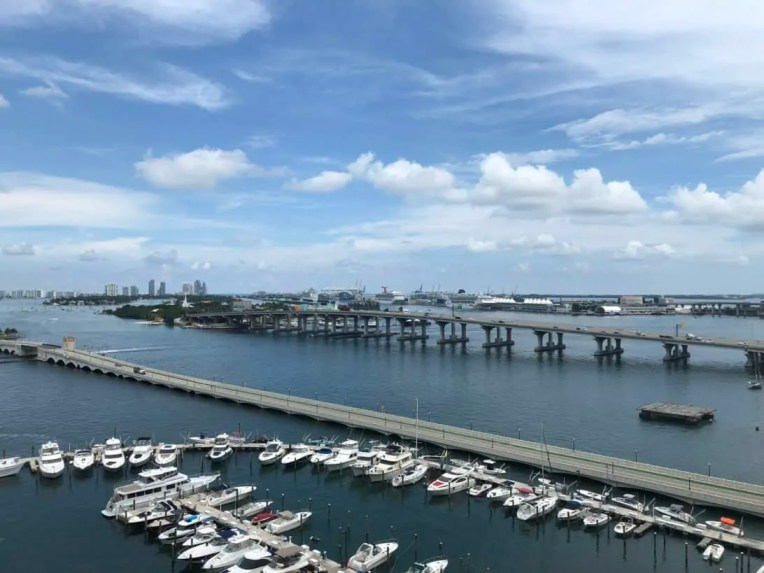 View from our bay view room at the Marriott Biscayne Bay Hotel