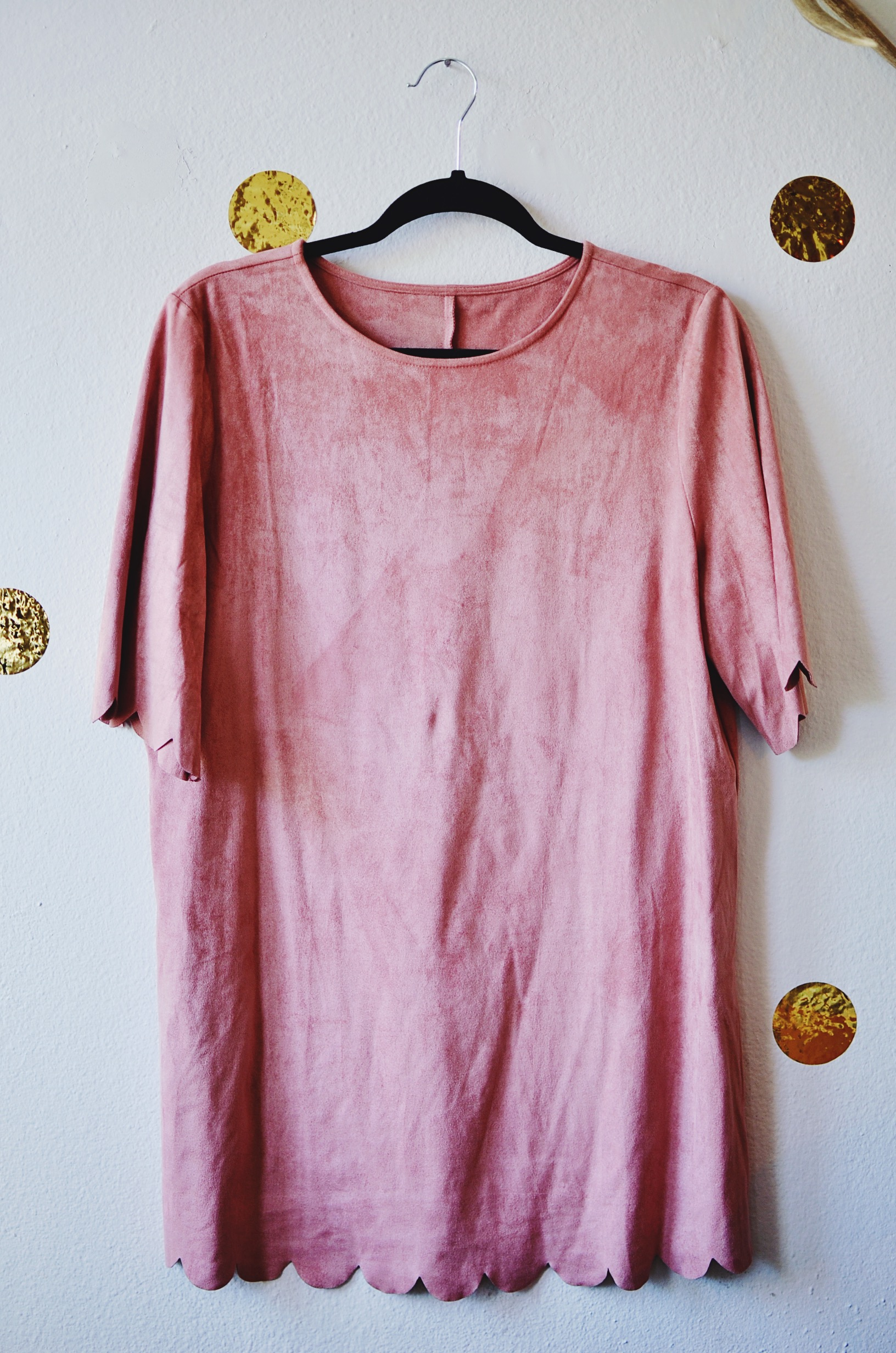 SheInside pink scalloped velvet dress