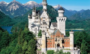 Castle of Neuschwanstein, built by the eccentric Ludwig II of Bavaria, made famous by Walt Disney as the residence of Sleeping Beauty