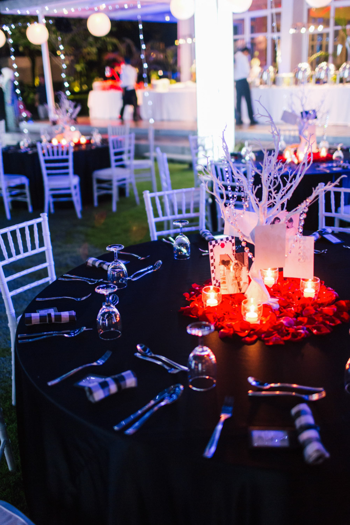 decor wedding black red white thailand
