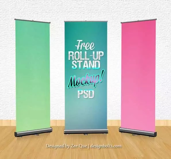 roll-up banner stand PSD 3D mockup template