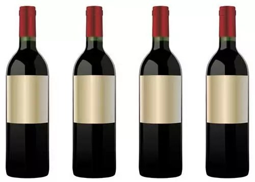 free blank red wine bottle packaging design templates