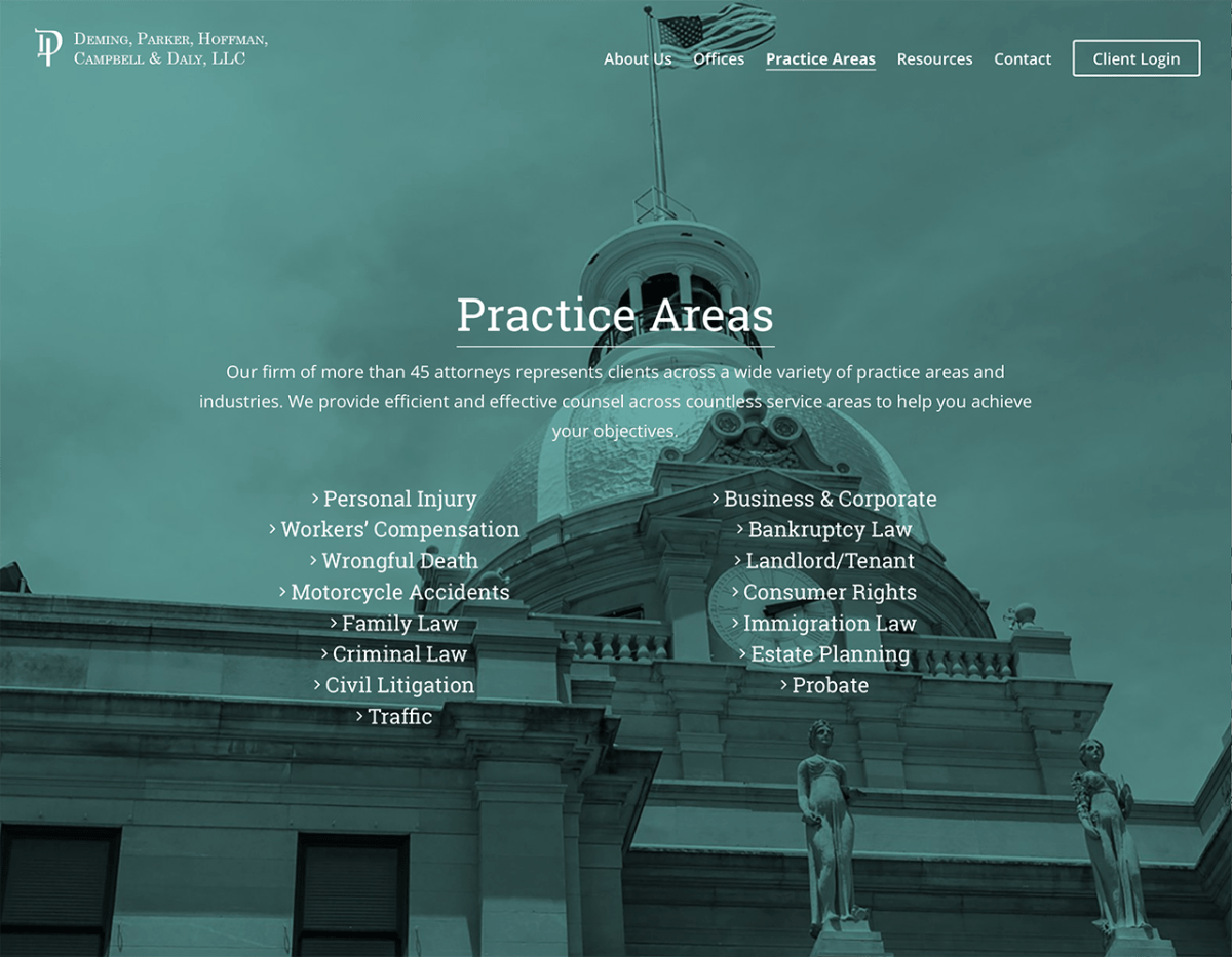 Portfolio Screenshot of Deminglaw Practice Area