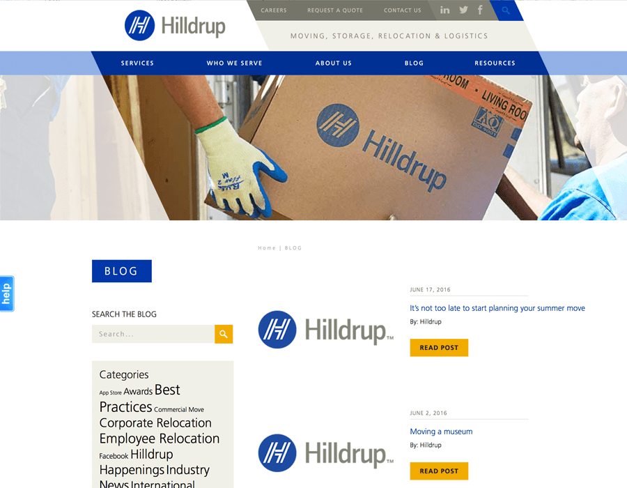 Portfolio Screenshot of Hilldrup Blog