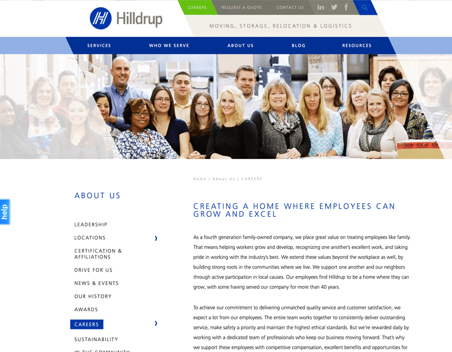 Portfolio Screenshot of Hilldrup Careers