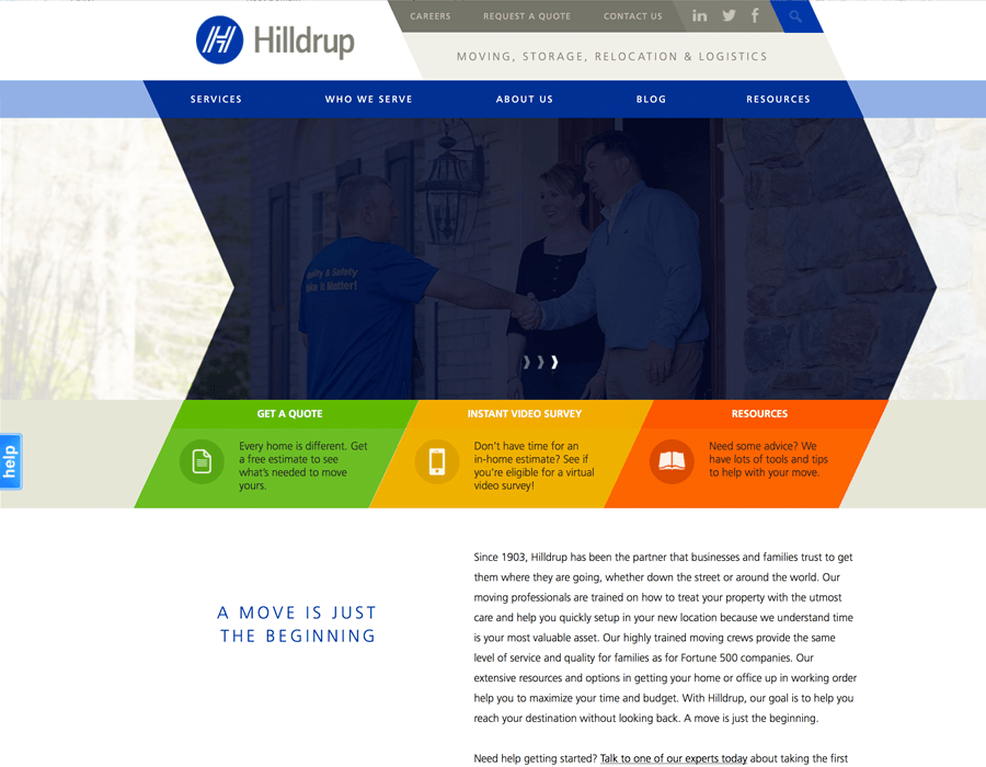 Portfolio Screenshot of Hilldrup Home