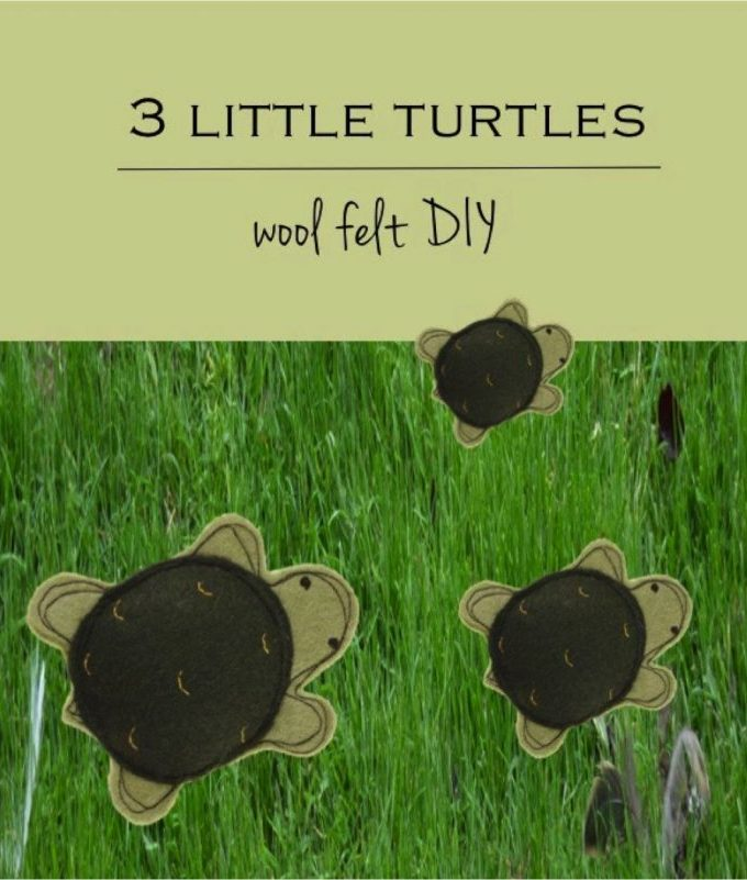 Make these cute turtles with our free felt animal pattern