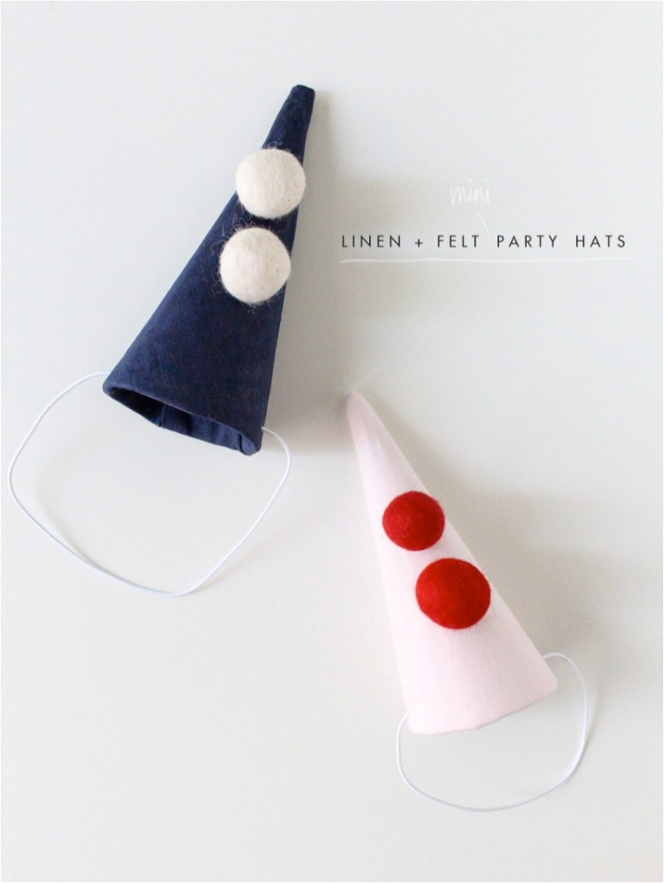 """DIY linen kids party hats"""