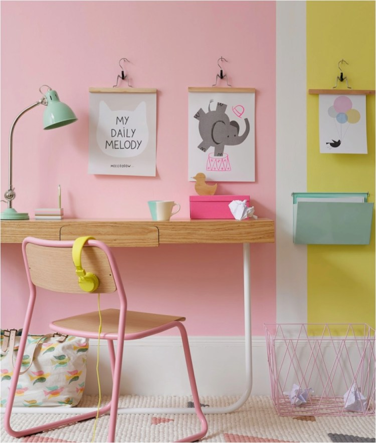 """pastel colour block walls"""