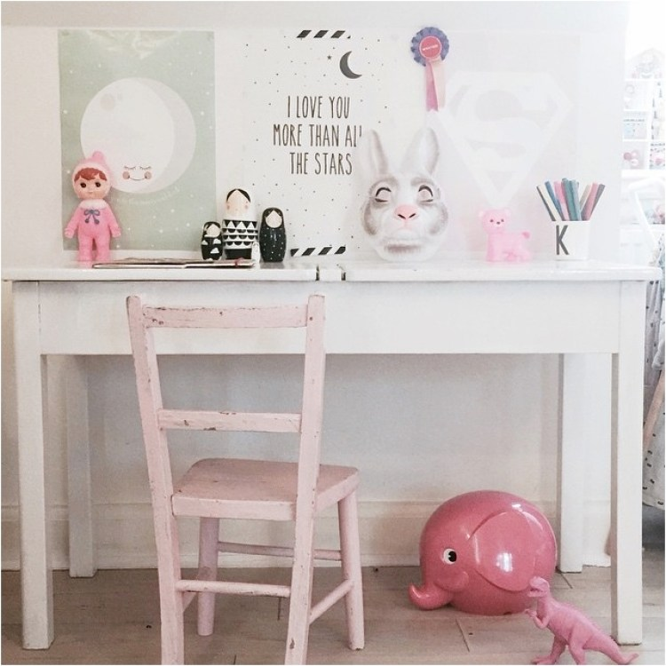 vintage white desk for girls room