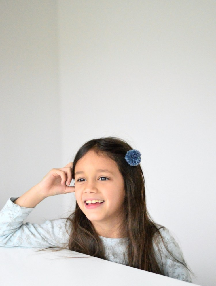DIY pom pom hair clips