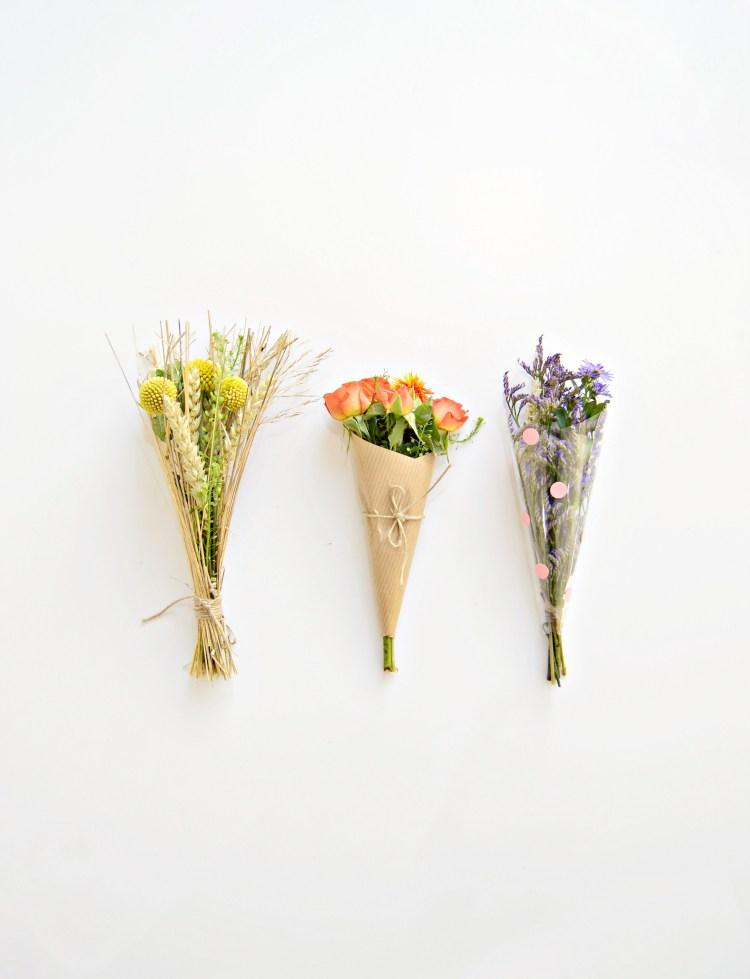 3 ways to wrap a mini bouquet of flowers