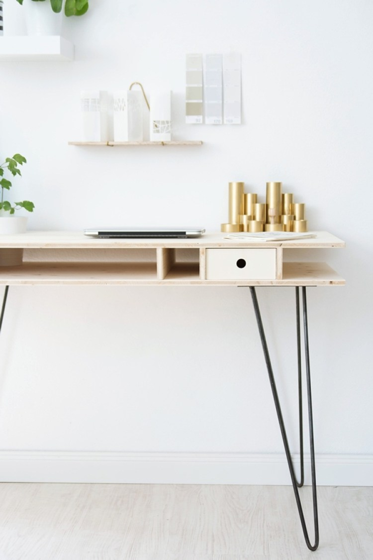 DIY wooden desk home office