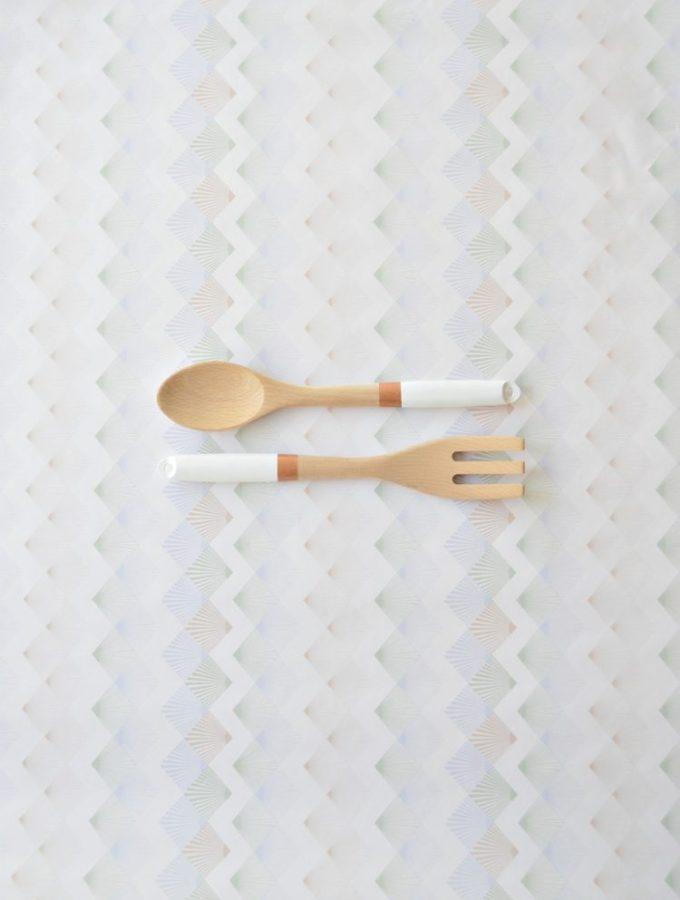 Copper and white DIY painted salad servers