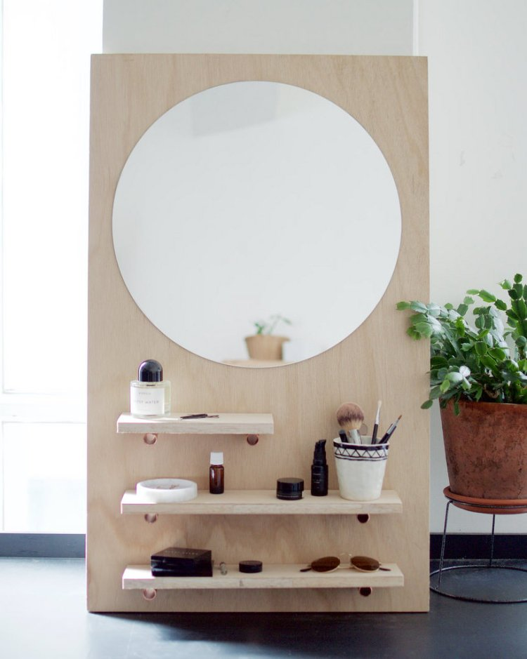 DIY bedroom mirror with shelves
