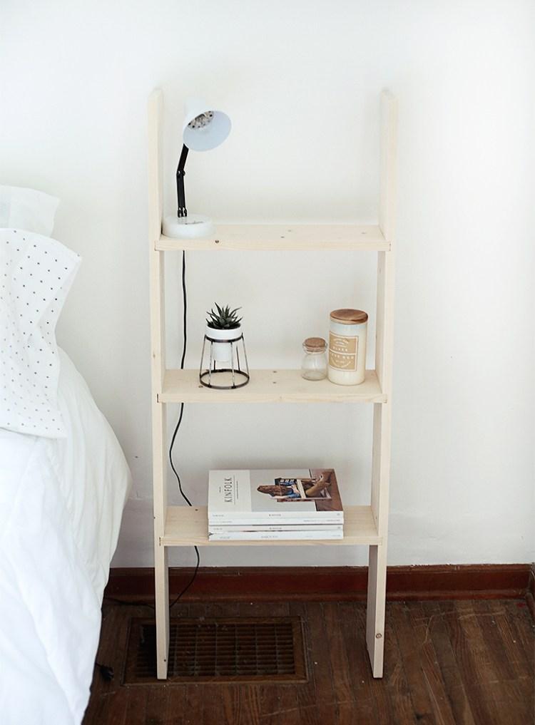 DIY ladder nightstand for bedroom