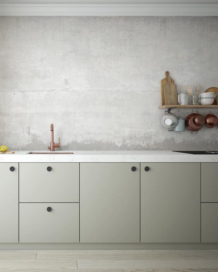 green kitchen cabinets with wooden floors