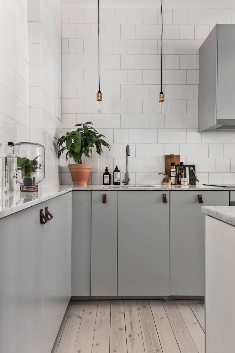 grey kitchen wood floor combo