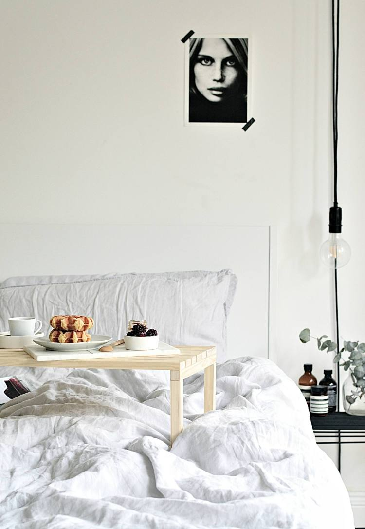 wooden breakfast in bed table