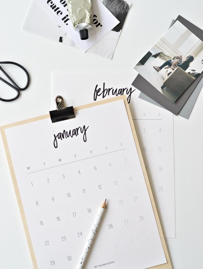 Happy 2018 + free printable 2018 calendar