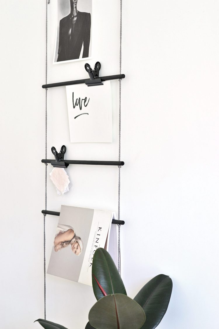 diy hanging dowel ladder
